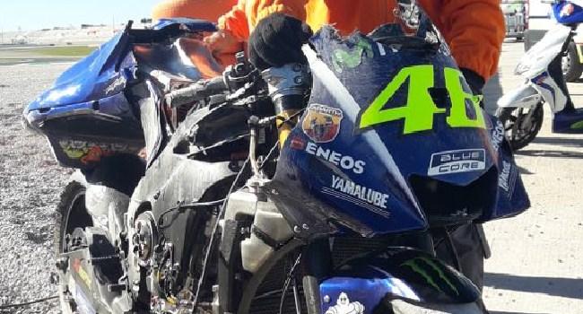 Foto: Puing-puing M1 Rossi di Hari Pertama Tes Valencia