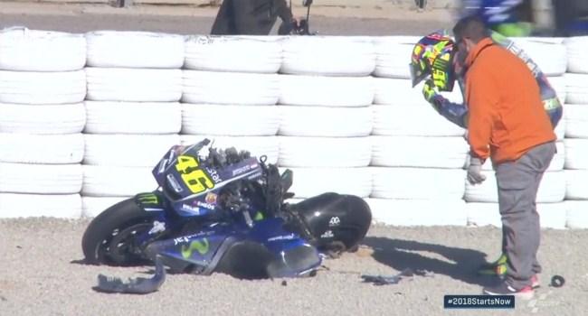 Kecelakaan, M1 Rossi Hancur di Tes Valencia
