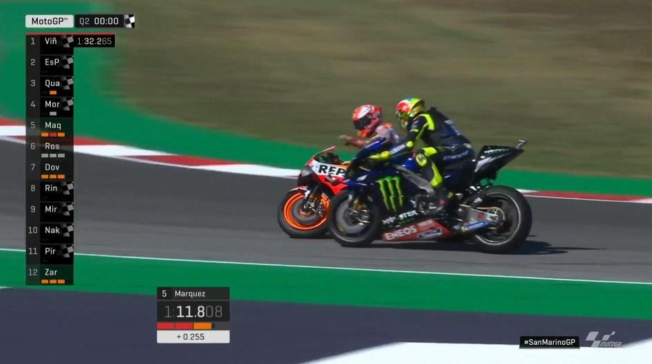 Kualifikasi MotoGP San Marino: Rossi-Marquez Hampir Tabrakan